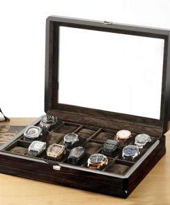 boite montre bois noir 18 emplacements