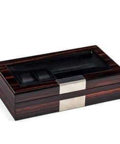 boite montre bois laqué noir