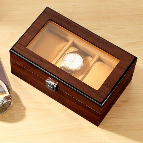 boite rangement montre marron coussin