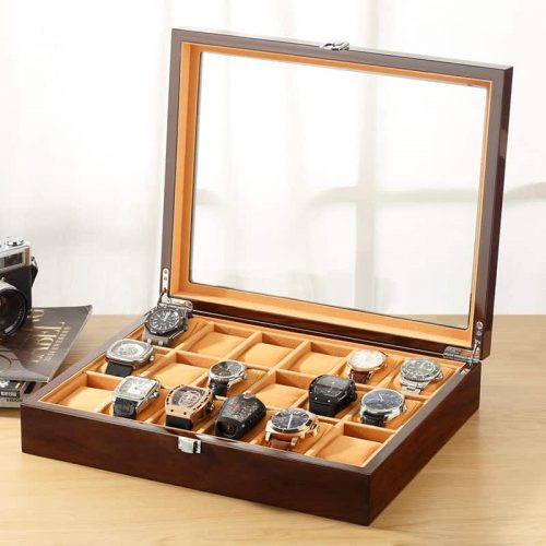 boite à montre bois 18 emplacements marron