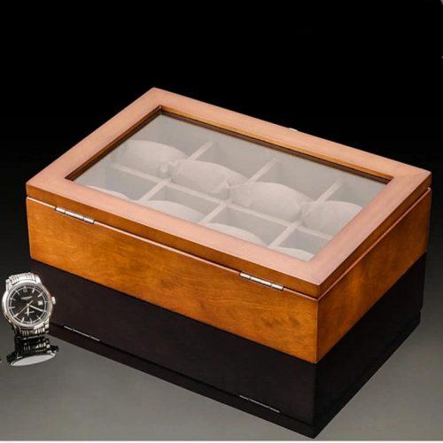 boite pour montre en bois coussin marron