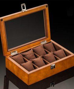 boite pour montre coussin marron en bois