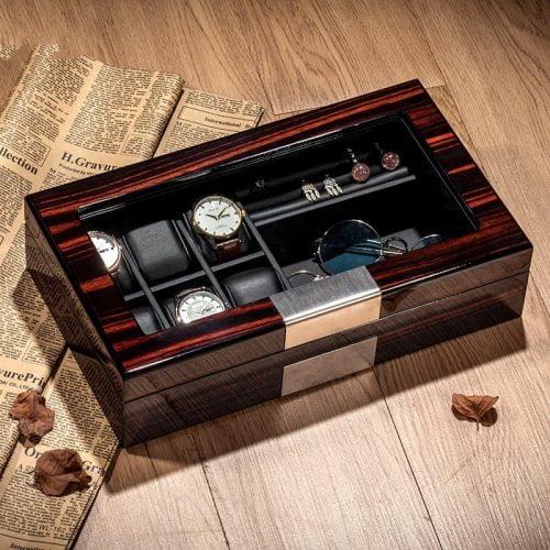 boite montre bois placement lunette
