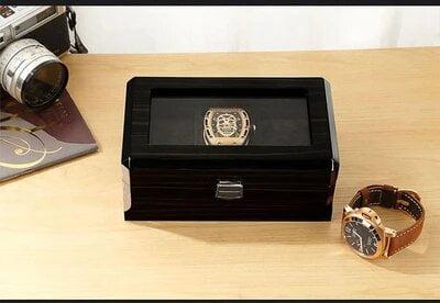 boite rangement montre noir coussin