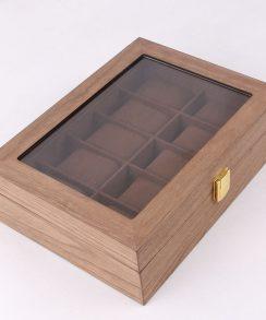 boite à montre de luxe bois vintage coussin chocolat