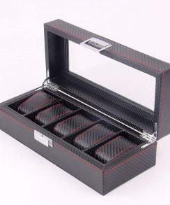 boite de rangement pour 5 montre en carbone