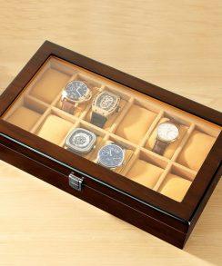 boite montre luxe beige avec présentoir