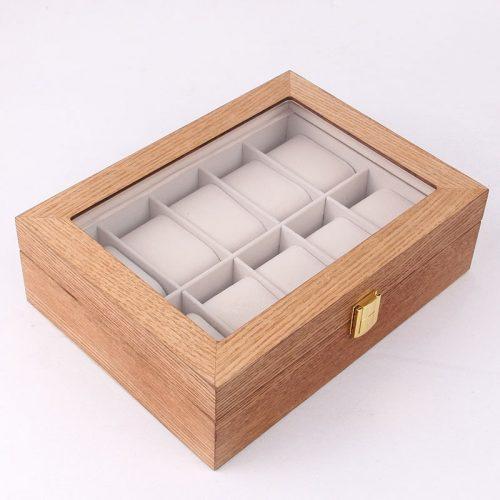 boite montre de luxe en bois noyer clair