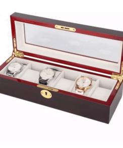 boite à montre en bois rouge