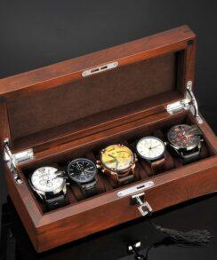 coffret montres bois marron foncé