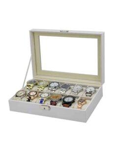 boite a montres cuir blanc