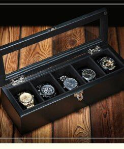 Boites à montres luxe en bois noir