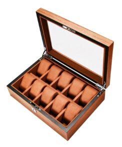 Boite montre bois luxueux marron