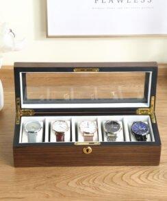 boite montre bois homme avec couvercle transparent