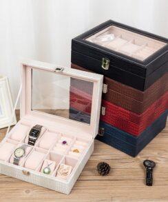 Boite montre en croco et bijoux